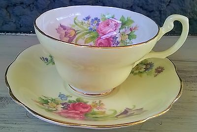 Wide Mouth Yellow Foley Flowery Tea Cup and Saucer Set