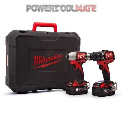 Milwaukee M18BLPP2B-502C 18V Brushless Impact & Combi Drill Kit with 2 x 5Ah
