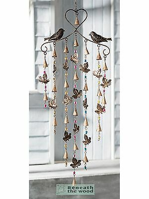 Birds & Leaves Windchime With Bells & Coloured Beads - Wind Chimes
