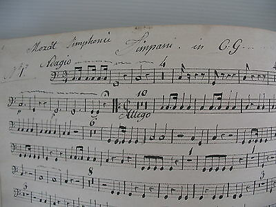 MUSIQUE MANUSCRITE PARTITIONS TIMPANI TIMBALES MOZART HAYDN BEETHOVEN c 1840