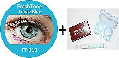 Contact Lenses Colored  FRESHTONE® Topaz Blue + Case + AVIZOR solution 10 ML
