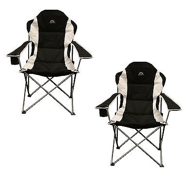 X2 (PAIR) Sunncamp Deluxe Steel XL Padded Camping Chair Black
