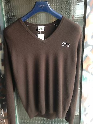 Vintage Lacoste V Neck Jumper Brown Retro Small