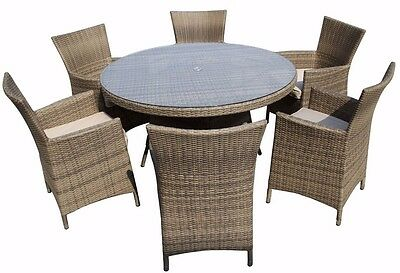 6 Seater Rattan Garden Furniture Dining Set Chairs + Table Outdoor