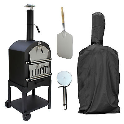 Outdoor Pizza Oven With Cover, Peel & Cutter Garden Charcoal BBQ & Bread Oven