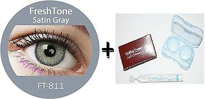 Contact Lenses Colored  FRESHTONE® Satin Gray + Case + AVIZOR solution 10 ML