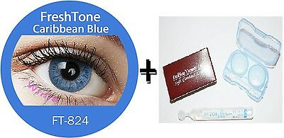 Contact Lenses Colored  FRESHTONE® Carribean Blue + Case + AVIZOR solution 10 ML
