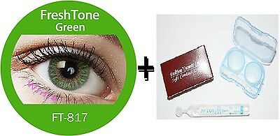 Contact Lenses Colored  FRESHTONE® Green + Case + AVIZOR solution 10 ML