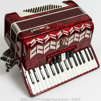 PARROT 2353 Red ACCORDION 72 Bass 34 key 7 Registers, including flight case