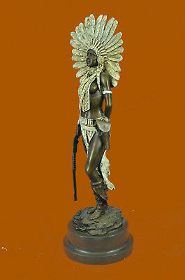 Sign Milo Native American Indian Girl Bronze Sculpture Figure Statue Figurine