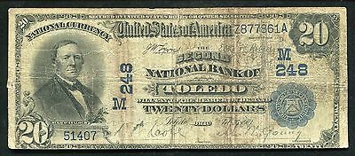 1902 $20 The Second National Bank Of Toledo, Oh National Currency Ch. #248