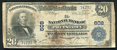 1902 $20 The National Bank Of Pottstown, Pa National Currency Ch. #608