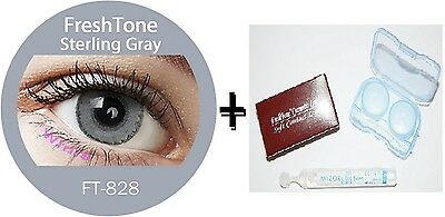 Contact Lenses Colored  FRESHTONE® Sterling Gray + Case + AVIZOR solutions 10 ML