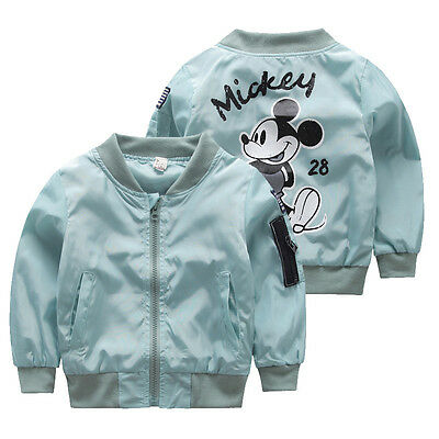 NEW Very Cute Mickey Mouse Boys Girls Blue Pink Unisex Bomber Flight Jacket