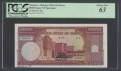 Morocco 5000 Dirhams ND P48s Specimen TDLR Uncirculated