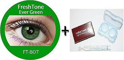 Contact Lenses Colored  FRESHTONE® Ever Green  + Case + AVIZOR solution 10 ML