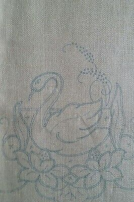 Vintage Linen Show Towel Stamped For Embroidery & Cutwork ~ Swan & Lily Pads