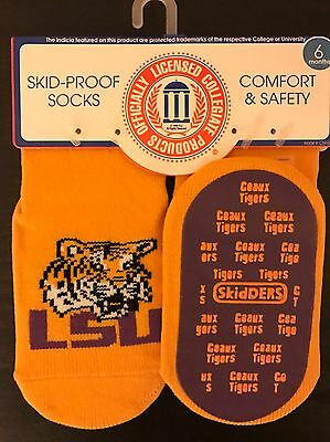 Unisex Child Baby Infant Skidders LSU Skid-Proof Socks size 6 Month Geuax Tigers