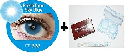 Contact Lenses Colored  FRESHTONE® Sky Blue + Case + AVIZOR solution 10 ML