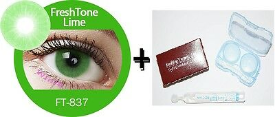 Contact Lenses Colored  FRESHTONE® Lime Green + Case + AVIZOR solution 10 ML