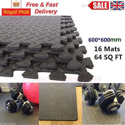 64 Sq Ft Interlocking Eva Foam Floor Mats Garage Gym Play Puzzle Exerciseack De