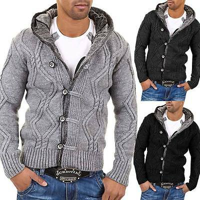 Carisma Men's cardigan sweater jumper 7013 Gray Black Darkgray