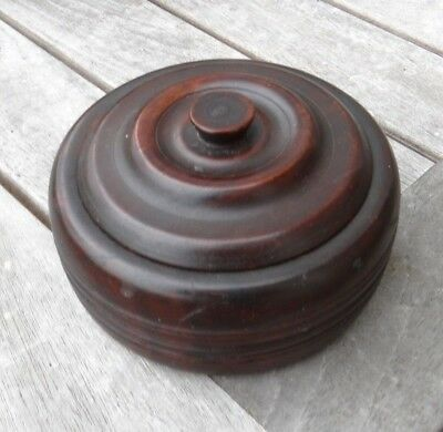 Early Twentieth Century Turned Box with Lid, Lignum Vitae, American or British