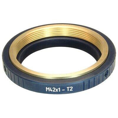 M42x1 female to T2 (M42x0.75) male thread adapter for telescopes, bronze insert