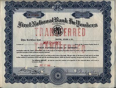 First National Bank in Yonkers, New York Stock Certificate