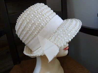 Vintage Ivory Union Made Straw Ladies Bucket Cloche Hat Ribbon Band Accent