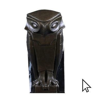 Art Deco Bronze Owl Bookends Mounted On Black Marble Vertical Bases Bookend Sa A