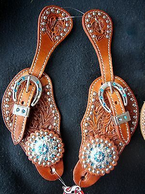 Showman Ladies Leather Western Spur Straps with Acorn Tooling & Blue Rhinestones