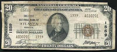 1929 $20 The First National Bank Of Atlanta, Ga National Currency Ch. #1559