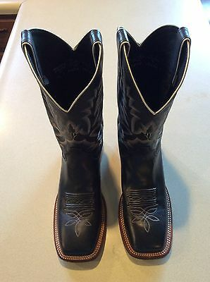 Justin Ladies Black Leather Bent Rail Western Boot Style BRL316 Size 10B