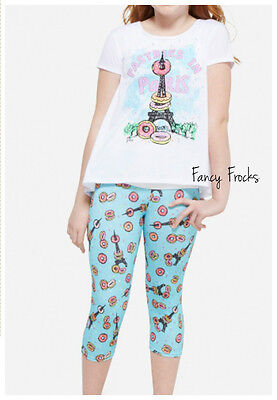 JUSTICE Girls Pastries In Paris Pajama Set, NEW, 10 12 14 PJS Pajamas