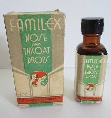 """Vintage Early 3.5"""" Bottle Montreal Canada  Nose/throat Drops  Bilingual  Box"""