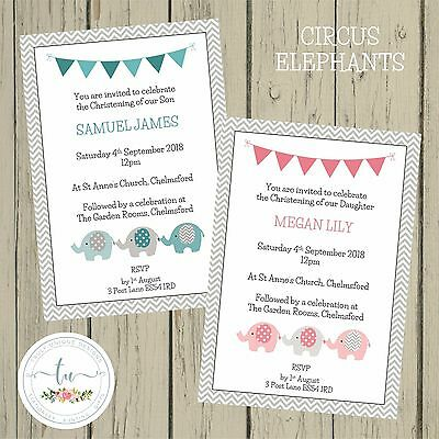 CIRCUS ELEPHANTS Personalised Invitations Christening Baptism Boy Girl Pink Blue