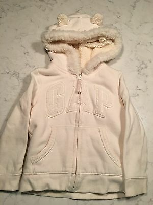 Baby Gap Sz 4 Years / 4T Girls Ivory Zipper Front, Fleece Hooded Sweatshirt