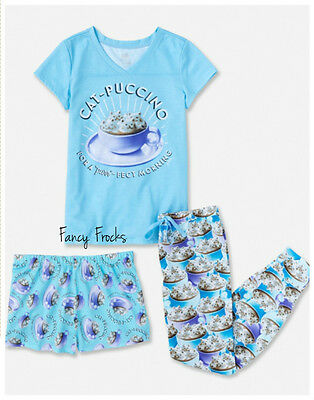 JUSTICE Girls Cat-puccino Pajama Set, NEW, 8 10 12 14 16 18 PJs Pajamas