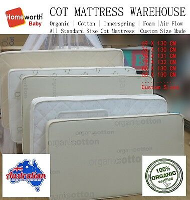 Baby COT MATTRESS Australia Made Organic Innerspring Cotton Protector Deal Boori