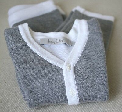 Baby Dior Grey Cashmere Blend Cardigan And Trousers Outfit 6 Months