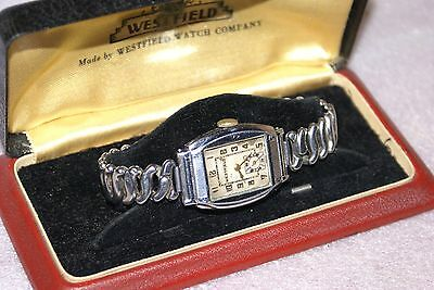 1920s 30s Art Deco Westfield Watch Co Mens Wristwatch With Box and Case RUNNING