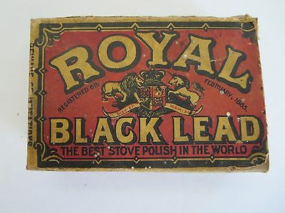 Vintage Royal Black Lead 1885 Stove Polish Box + Part Contents