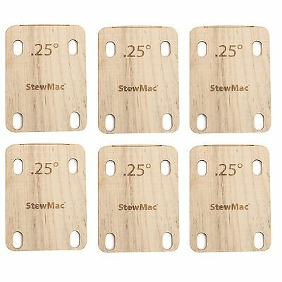 StewMac Neck Shims for Guitar, Shaped, 0.25 degree - 6-pack