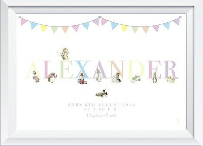 A4 Personalised Peter Rabbit new baby name print christening gift nursery