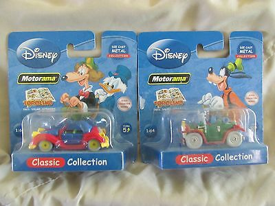 PAIR of Disney Motorama Classic Collection Die Cast Cars, MIP Mint on Card LOOK!