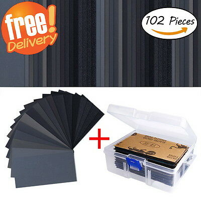 102 Pieces Grit Sandpaper Assorted Wet/ Dry for Cars Wood Sanding + Free Box