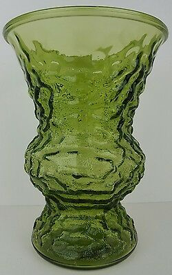 "Vintage EO Brody Co Avocado Green Crinkle Glass 10"" Flower Vase Cleveland Ohio"