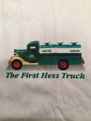 Hess Oil Co. White T Shirt First Hess Truck on Front Logo on Back Size L NEW