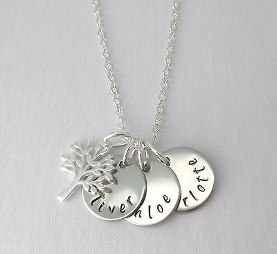 Personalised With 1, 2 or 3 Names Hand Stamped Family Tree Necklace Gift
